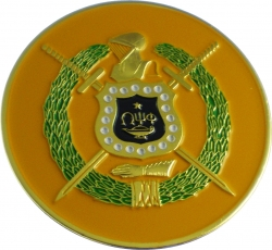 View Product Detials For The Omega Psi Phi Escutcheon Shield Round Car Badge