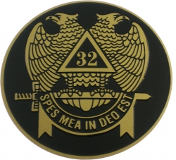 View Buying Options For The Scottish Rite 32nd Degree Wings Down Etched Round Car Emblem