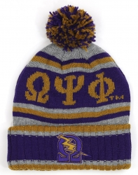 View Buying Options For The Big Boy Omega Psi Phi Divine 9 S5 Mens Cuff Beanie Cap with Ball
