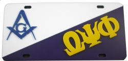 View Buying Options For The Mason + Omega Psi Phi Split License Plate