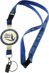 View Buying Options For The Zeta Phi Beta PVC Crest Lanyard Keychain