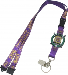 View Buying Options For The Omega Psi Phi PVC Escutcheon Shield Lanyard Keychain