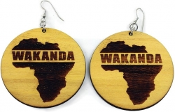 View Buying Options For The Black Panther Wakanda Africa Symbol Ladies Wooden Earrings
