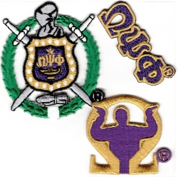 View Buying Options For The Omega Psi Phi 3-Pack A Embroidered Stick-On Applique Patches