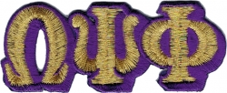 View Product Detials For The Omega Psi Phi Connected Letter Iron-On Patch Set