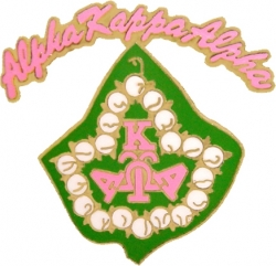 View Buying Options For The Alpha Kappa Alpha Pearl Ivy Leaf Script Rocker Lapel Pin