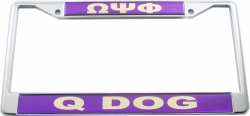 View Buying Options For The Omega Psi Phi Q-Dog Call License Plate Frame