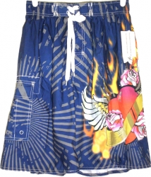 View Buying Options For The Basix Body Surf Flying Heart On Fire Tattoo Print Mens Swim Shorts