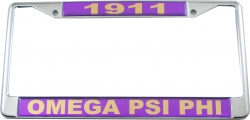 View Buying Options For The Omega Psi Phi 1911 Domed License Plate Frame