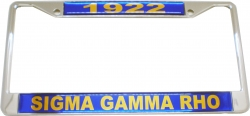 View Buying Options For The Sigma Gamma Rho 1922 Domed License Plate Frame