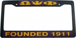 View Buying Options For The Omega Psi Phi Founded 1911 Plastic License Plate Frame