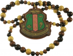 View Buying Options For The Alpha Kappa Alpha Wood Bead Tiki Crest Decal Necklace