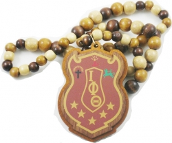View Buying Options For The Iota Phi Theta Wood Bead Tiki Shield Decal Necklace