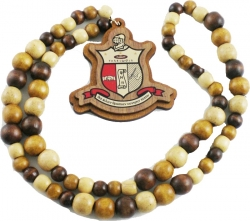 View Buying Options For The Kappa Alpha Psi Wood Bead Tiki Shield Decal Necklace