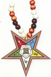 View Buying Options For The Eastern Star Wood Bead Tiki Symbol Decal Necklace