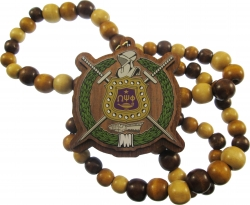 View Buying Options For The Omega Psi Phi Escutcheon Shield Decal Wood Bead Tiki Necklace