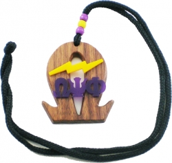 View Buying Options For The Omega Psi Phi Que Lightning Bolt Wood Symbol Medallion