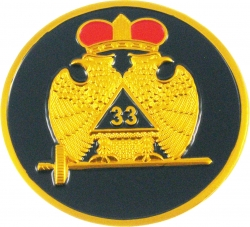 View Buying Options For The 33rd Degree Wings Down Round Car Emblem