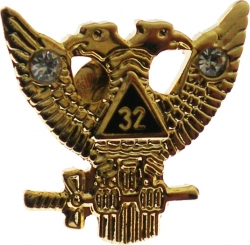 View Buying Options For The Scottish Rite 32nd Degree Wings Up Rhinestone Small Lapel Pin