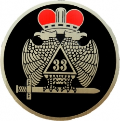 View Buying Options For The 33rd Degree Wings Down Etched Round Car Emblem