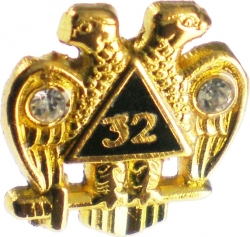 View Buying Options For The Scottish Rite 32nd Degree Wings Down Rhinestone Small Lapel Pin