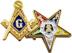 View Buying Options For The Mason + Eastern Star Symbol Double Lapel Pin