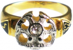 View Buying Options For The Scottish Rite 32nd Degree Wings Down Rhinestone Mens Ring