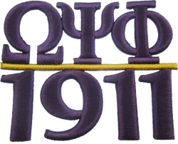 View Buying Options For The Omega Psi Phi 1911 3D Chapter Bar Style Iron-On Patch