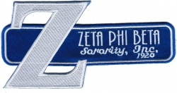 View Buying Options For The Zeta Phi Beta Big Letter Retro Satin Tackle Twill Iron-On Patch