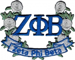 View Buying Options For The Zeta Phi Beta Rose Flower Banner Wreath Iron-On Patch
