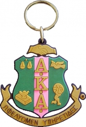 View Buying Options For The Alpha Kappa Alpha Crest Split Ring Rubber Keychain