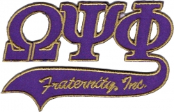 View Buying Options For The Omega Psi Phi Athletic Tail Script Tackle Twill Iron-On Patch