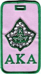 View Buying Options For The Alpha Kappa Alpha Pearl Ivy Velour Luggage Tag