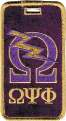 View Buying Options For The Omega Psi Phi Que Lightning Bolt Velour Luggage Tag