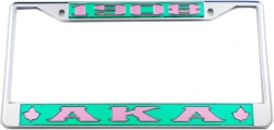 View Buying Options For The Alpha Kappa Alpha 1908 Ivy Leaf Big Letter License Plate Frame