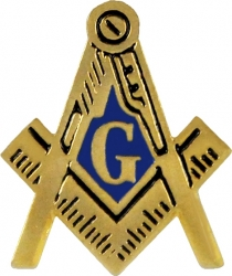 View Buying Options For The Mason Blue House Symbol Cut-Out Lapel Pin