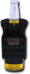 View Buying Options For The RapDom Thin Red Line Tactical Mini Vest Black Bottle Koozie