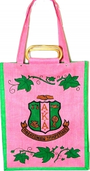 View Buying Options For The Alpha Kappa Alpha Crest Ivy Leaf Ladies Shopping Jute Bag