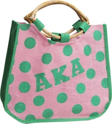 View Buying Options For The Alpha Kappa Alpha Polka Dot Ladies Jute Bag