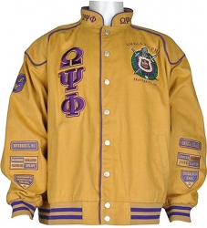 View Buying Options For The Buffalo Dallas Omega Psi Phi Fraternity Mens NASCAR Twill Jacket