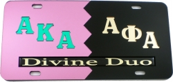 View Buying Options For The Alpha Kappa Alpha + Alpha Phi Alpha Divine Duo Split License Plate