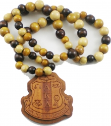 View Buying Options For The Alpha Kappa Alpha Laser Engraved Crest Wood Bead Tiki Necklace