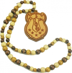 View Buying Options For The Iota Phi Theta Laser Engraved Shield Wood Bead Tiki Necklace