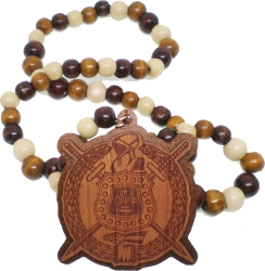 View Buying Options For The Omega Psi Phi Laser Engraved Shield Wood Bead Tiki Necklace