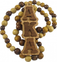 View Buying Options For The Alpha Kappa Alpha Wood Bead Tiki Raised Medallion Necklace