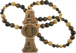 View Buying Options For The Alpha Phi Alpha Raised Letter Medallion Wood Bead Tiki Necklace
