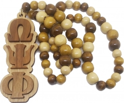 View Buying Options For The Omega Psi Phi Raised Letter Wood Bead Tiki Necklace