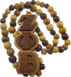 View Buying Options For The Zeta Phi Beta Wood Bead Tiki Raised Letter Medallion Necklace