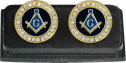 View Buying Options For The Mason Blue House Symbol Stone Crystal Round Mens Cuff Links