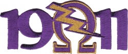 View Buying Options For The Omega Psi Phi 1911 Que Lightning Bolt Mascot Iron-On Patch